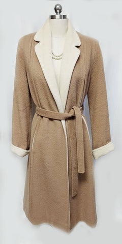 VINTAGE MR. FRED  WOOL TRENCH COAT- LOOK COAT MADE IN THE CAMEL & IVORY