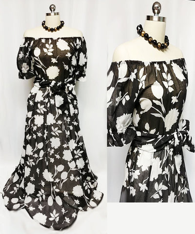 VINTAGE '70s MR. HANK BLACK & WHITE GAUZY OFF THE SHOULDER BLOUSE & SCALLOPED SKIRT ENSEMBLE WITH MATCHING BELT