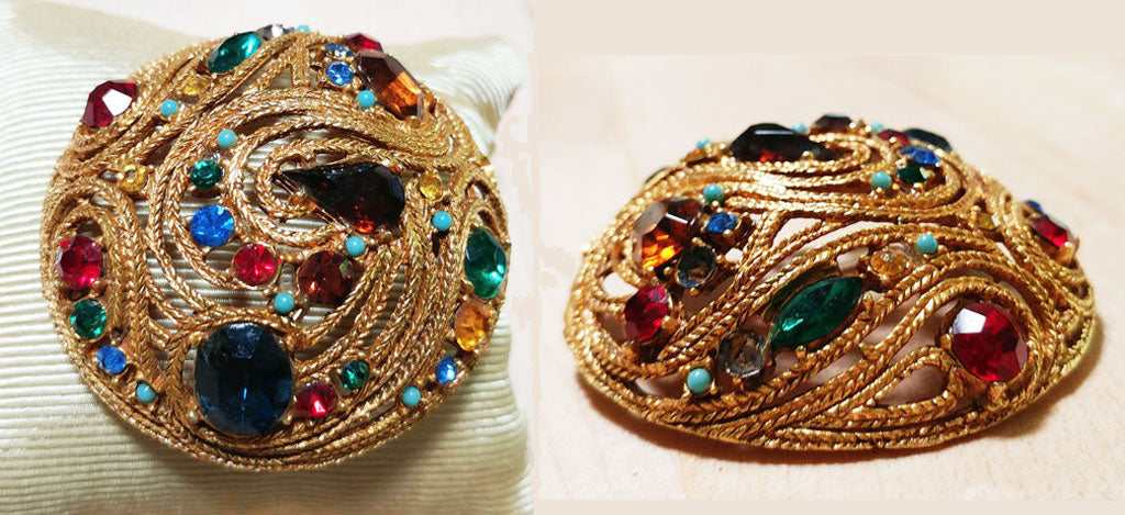 VINTAGE SPARKLING MULTI-COLORED RHINESTONES LARGE HIGH DOME PIN