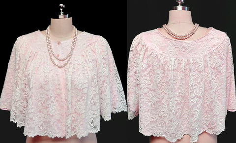 VINTAGE STYLED BY NANETTE LACE & NYLON BED JACKET IN APPLE BLOSSOM PINK