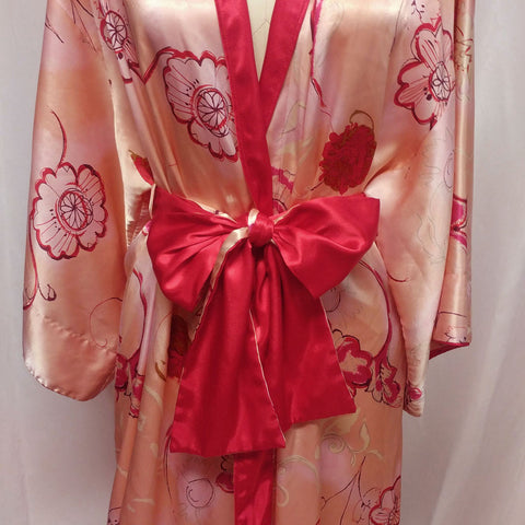 GLAMOROUS VINTAGE '80S NATORI SAKS FIFTH AVENUE ASIAN INSPIRED PEACH & SCARLET SATIN ROBE PEIGNOIR WITH OBI SASH OR BOW SASH
