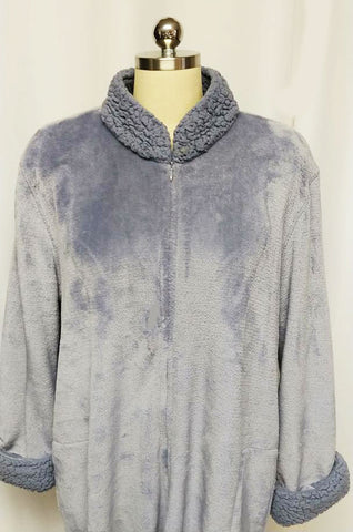 BEAUTIFUL NATORI FROSTY FAUX FUR DRESSING GOWN ZIP UP ROBE WITH SHERPA COLLAR & CUFFS IN PERIWINKLE IN SIZE EXTRA LARGE - XL