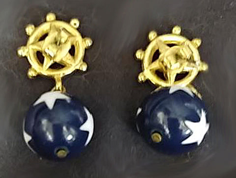VINTAGE NAVY, RED & WHITE STAR NAUTICAL EARRINGS