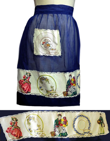 VINTAGE NAVY APRON WITH DINNERWARE, OLD FASHIONED LADIES & BALLOONS