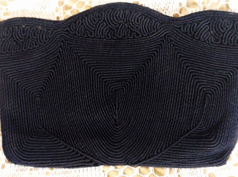 VINTAGE '30s / 40s DEEP NAVY CORD CLUTCH BAG PURSE EVENING BAG - ADORABLE!