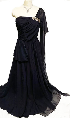 GLAMOROUS VINTAGE '50s / '60s MOVIE STAR LOOK NAVY & SEQUIN FLOWERS STRAPLESS EVENING GOWN WITH DETACHABLE STOLE