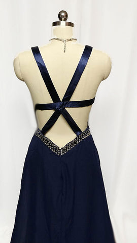 VINTAGE NAVY SEQUIN SIDE CUT OUTS EVENING GOWN WITH A BEAUTIFULS SATIN STRAPPY BACK