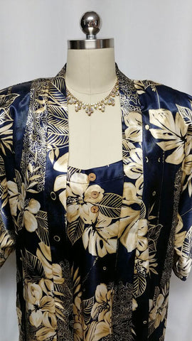 VINTAGE CALIFORNIA DYNASTY NAVY & GOLD SATIN PEIGNOIR BED JACKET AND NIGHTGOWN IN HAWAIIAN PRINT