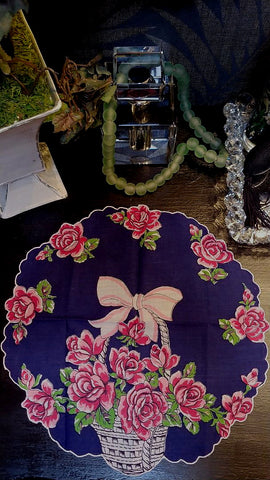 VINTAGE NAVY WITH BASKET OF PINK ROSES SCALLOPED CIRCULAR HANDKERCHIEF - BEAUTIFUL!