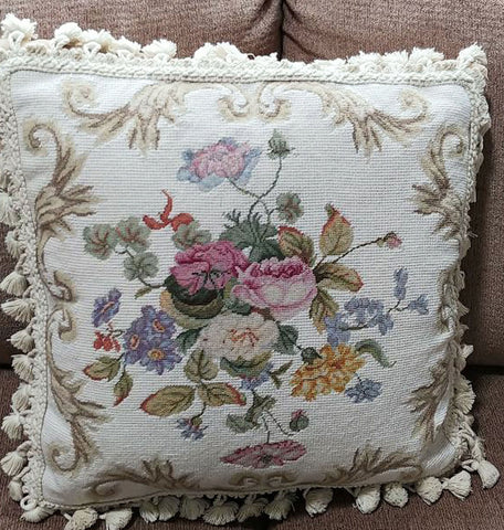 VINTAGE FRENCH COUNTRY SHABBY CHIC AUBUSSON FLORAL WOOL NEEDLEPOINT AND PETIT POINT THROW PILLOW WITH TASSELS - INCLUDES ORIGINAL GOOSE FEATHER AND DOWN PILLOW FORM INSIDE