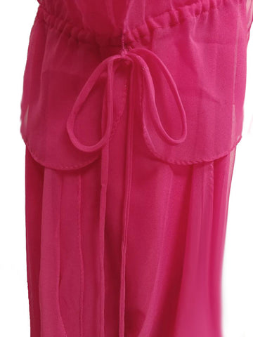 VINTAGE SAKS FIFTH AVENUE FLOWING CHIFFON PINK EVENING GOWN