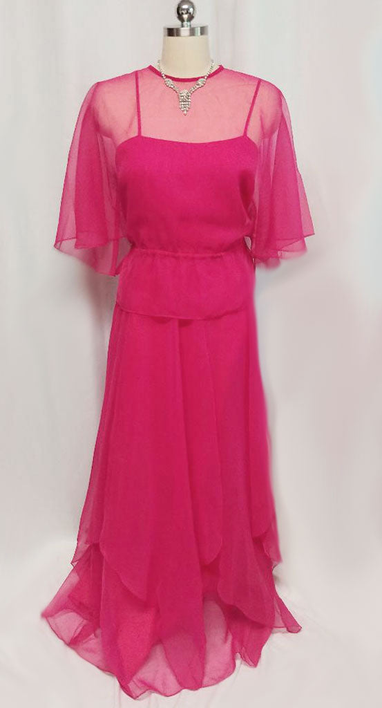 VINTAGE SAKS FIFTH AVENUE FLOWING CHIFFON PINK EVENING GOWN ...