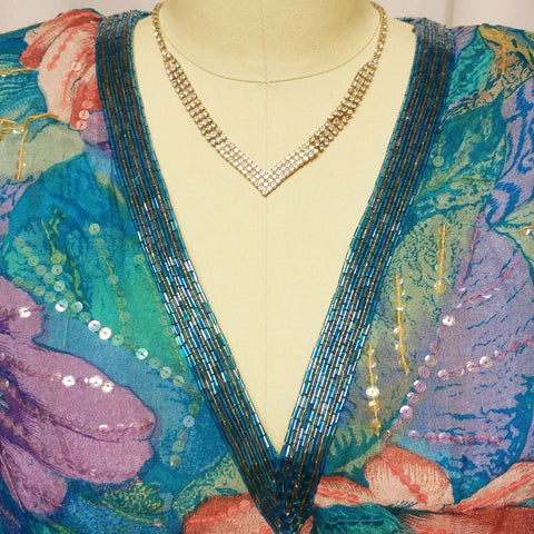 VINTAGE '80s NEIMAN MARCUS SPARKLING SEQUIN & BEADED SILK DRESS