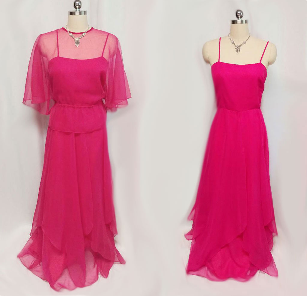 4b7d2c8e354d VINTAGE SAKS FIFTH AVENUE FLOWING CHIFFON PINK EVENING GOWN – Vintage  Clothing & Fashions | Midnight Glamour