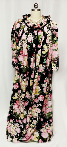 VINTAGE NEUSTETERS PINK & BLACK FLORAL DRESSING GOWN ROBE SATIN RIBBONS