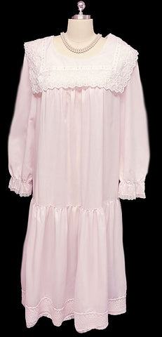 VINTAGE NIGHT FLOWERS NEW YORK VERY FEMININE COUNTRY GIRL ROMANTIC NIGHTGOWN IN PINK ANGEL - LARGE SIZE
