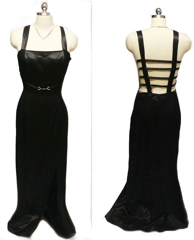 VINTAGE NIGHT MOVES BY HAL BLACK EVENING GOWN WITH A SPARKLING RHINESTONE BELT AND A FABULOUS BACK - PERFECT FOR THE HOLIDAYS