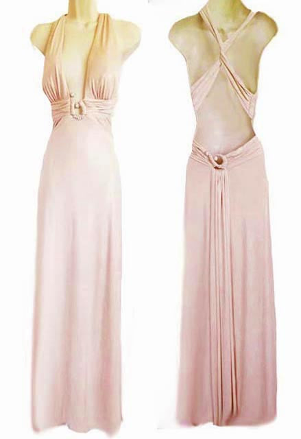 EXQUISITE NIGHTWAY SHIMMERING GOLDEN PINK RHINESTONE EVENING GOWN ADORNED WITH A FABULOUS BACK - NEW WITH TAG