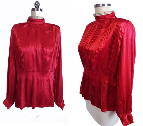 VINTAGE NILANI PLEATED RED SATIN  BLOUSE WITH FULL PLEATED SLEEVES