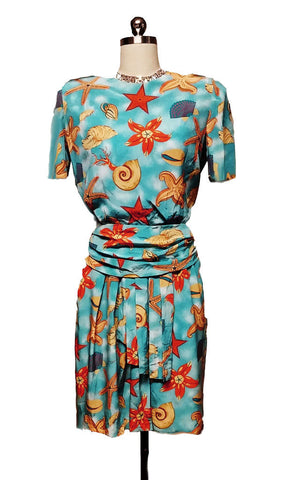 VINTAGE '80s ALBERT NIPON BOUTIQUE SEASHELL SILK DRESS