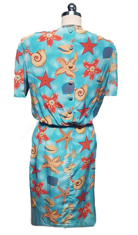 VINTAGE '80s NIPON BOUTIQUE SILK DRESS WITH GORGEOUS SEASHELLS