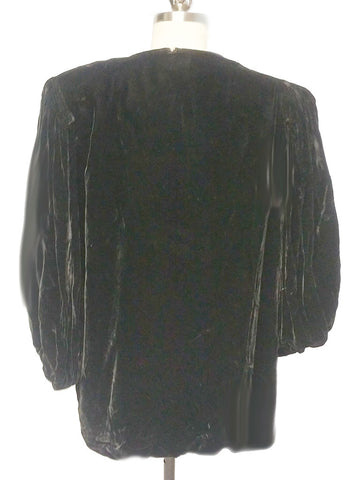 VINTAGE 30s / 40s NITE CLUB WRAPS BLACK VELVET OR VELVETEEN EVENING JACKET - PERFECT OVER EVENING CLOTHES OR WITH JEANS