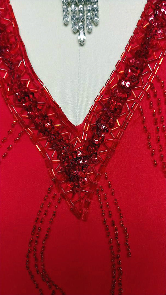 6a58822695d9 VINTAGE NITE LINE HOLIDAY RED SEQUIN & BEADED DRESS - LARGER SIZE ...