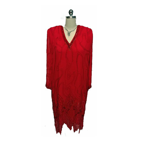 VINTAGE NITE LINE HOLIDAY RED SILK SEQUIN & BEADED DRESS - LARGER SIZE