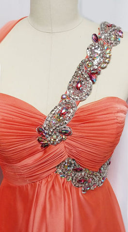VINTAGE GLAMOROUS NITE MOVES SPARKLING JEWELED, SEQUIN & BEADED ONE SHOULDER GODDESS EVENING GOWN IN TANGERINE