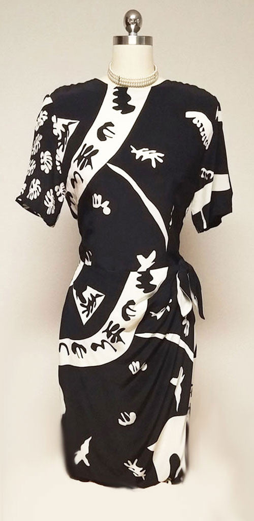 VINTAGE '80s NORA NOH BLACK & CREAM SILK SARONG DRESS