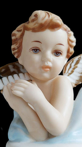 VINTAGE 1950s NORCREST WINGED PORCELAIN CHERUBS - BEAUTIFULLY PAINTED