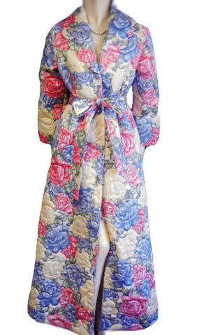 VINTAGE NORDSTROM RARE FLORAL QUILTED ROBE DRESSING GOWN FROM HONG KONG IN VICTORIAN GARDEN
