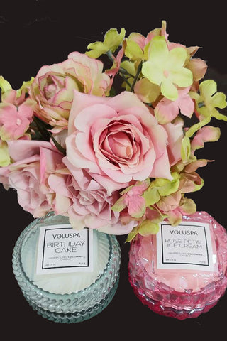 NEW - VOLUSPA MACAROON COOKIE SHAPED ROSE PETAL ICE CREAM CANDLE & BIRTHDAY CAKE CANDLE - SET OF 2