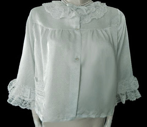 VINTAGE NANETTE'S UNDIES SOUTHERN BELLE BABY BLUE LACE SATINY BED JACKET