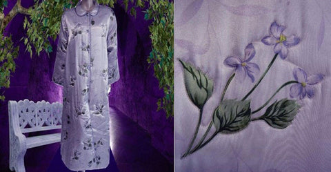 EXQUISITE LAVENDER SATIN QUILTED ROBE SPRINKLED WITH WOODLAND VIOLETS