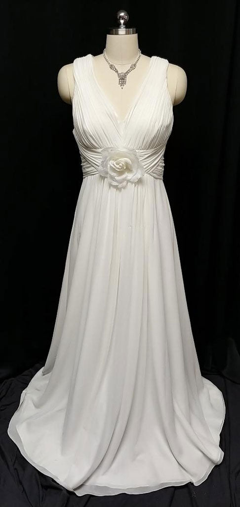 NEW - GLAMOROUS GODDESS OLEG CASSINI PLEATED EVENING GOWN, CRUISE OR  WEDDING GOWN ADORNED WITH A HUGE ROSE