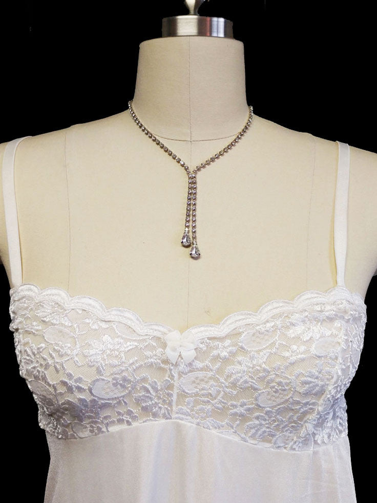RARE VINTAGE OLGA SHEER NYLON   SPANDEX LACE BRA NIGHTGOWN IN WHITE FROST 185298ee7