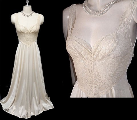 RARE VINTAGE OLGA BODYSILK ALL LACE SPANDEX BODICE NIGHTGOWN IN CHABLIS