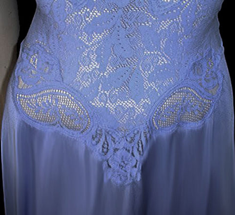 VINTAGE OLGA RARE STYLE & COLOR ALL LACE SPANDEX BODICE NIGHTGOWN IN HYACINTH  - #2