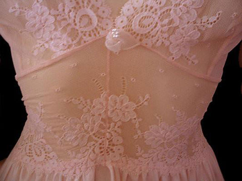 OLGA RARE STYLE SPANDEX MESH LACE POINTELLE BODICE IN ROSE BLUSH