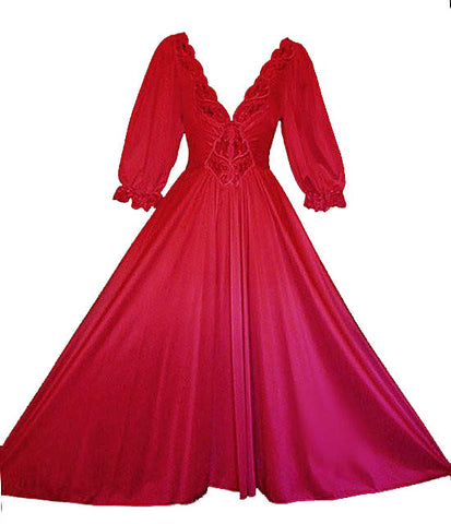 VINTAGE RARE OLGA SPANDEX LACE NIGHTGOWN WITH SLEEVES IN FERRARI RED