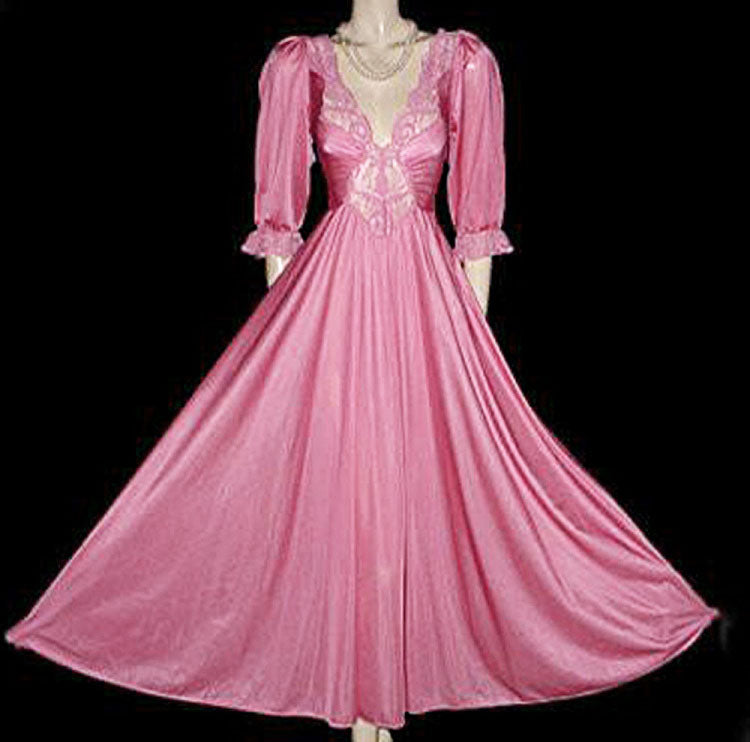 VINTAGE OLGA SPANDEX LACE NIGHTGOWN WITH SLEEVES IN ROSE DEW - GORGEOUS COLOR!