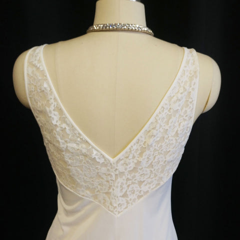 VINTAGE OLGA RARE STYLE LACE GRAND SWEEP NIGHTGOWN IN FRENCH VANILLA - OVER 12 FOOT GRAND SWEEP