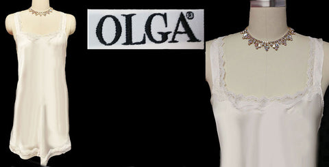 MG1290 - SOLD - VINTAGE OLGA SILK LACE NIGHTGOWN IN A RARE STYLE AND FABRIC IN ANTIQUE IVORY