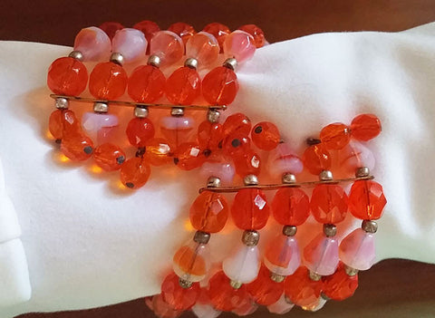 VINTAGE CRYSTAL GLASS & ART GLASS NECKLACE, EARRINGS & WIRE WRAP BRACELET PARURE IN ORANGE PEEL - MADE IN WEST GERMANY