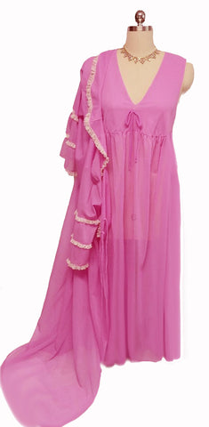 VINTAGE LACE PEIGNOIR & NIGHTGOWN SET IN SUMMER ORCHID