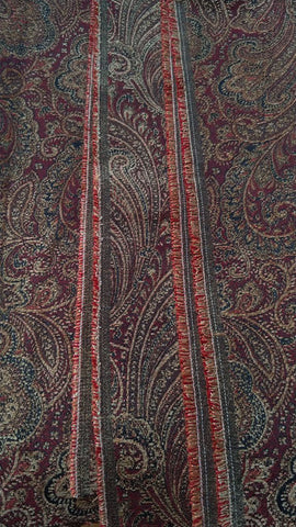 "DECORATOR TAPESTRY-LIKE PAISLEY BURGUNDY JEWEL TONE FABRIC REMNANT FOR PILLOWS, UPHOLTERING CHAIR SEATS, DECORATOR PROJECTS - 54"" X 46-1/2"""