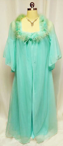 VINTAGE PANDORA OF CALIFORNIA AQUAMARINE DOUBLE NYLON MARABOU PEIGNOIR & NIGHTGOWN SET IN AQUAMARINE