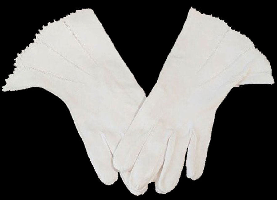 BEAUTIFUL VINTAGE '50s / '60s CREAM FAGOTING GAUNTLET GLOVES WITH EMBROIDERY