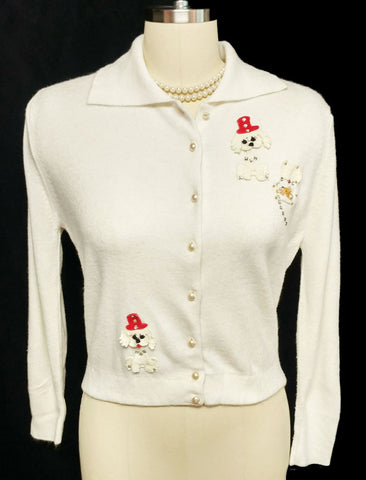 VINTAGE 1950 PARK STORYK LITTLE DOG WITH TOP HAT AND TREASURE CHEST RHINESTONE NOVELTY SWEATER
